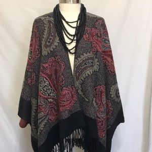 Sweaters - Paisley fringed poncho ruana shrug, throw sweater